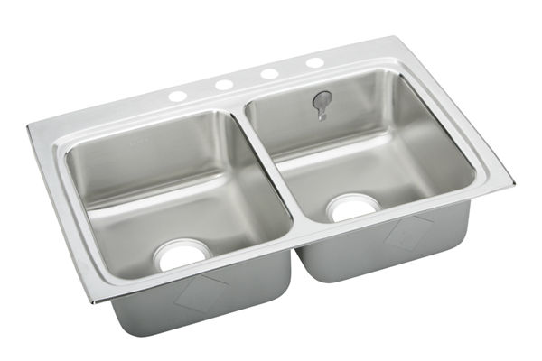 Gourmet (Lustertone®) Stainless Steel Double Bowl Top Mount Sink Kit