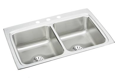 "Image for Elkay Lustertone Stainless Steel 33"" x 22"" x 8-1/8"", Equal Double Bowl Top Mount Sink with Perfect Drain from ELKAY"