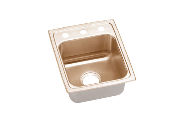 "Elkay CuVerro Antimicrobial Copper 13"" x 16"" x 5-1/2"", Single Bowl Top Mount ADA Sink"