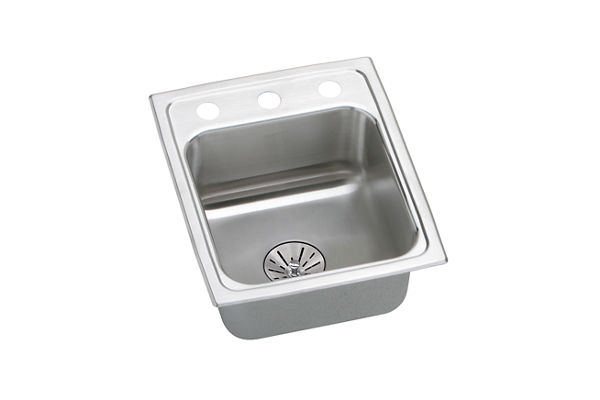 "Elkay Lustertone Stainless Steel 15"" x 17-1/2"" x 6-1/2"", Single Bowl Top Mount Sink with Perfect Drain"