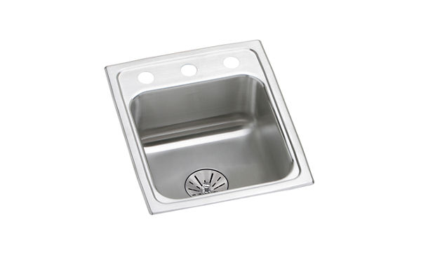 "Elkay Lustertone Stainless Steel 15"" x 17-1/2"" x 6-1/2"", Single Bowl Top Mount ADA Sink with Perfect Drain"