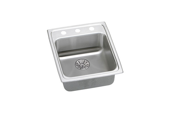 "Elkay Lustertone Classic Stainless Steel 15"" x 22"" x 6-1/2"", Single Bowl Top Mount ADA Sink with Perfect Drain"