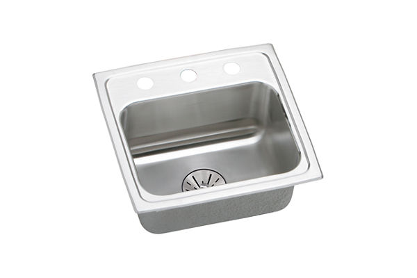 "Elkay Lustertone Stainless Steel 17"" x 16"" x 6-1/2"", Single Bowl Top Mount Sink with Perfect Drain"