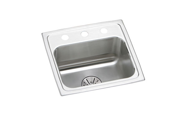 "Elkay Lustertone Stainless Steel 17"" x 16"" x 6-1/2"", Single Bowl Top Mount ADA Sink with Perfect Drain"