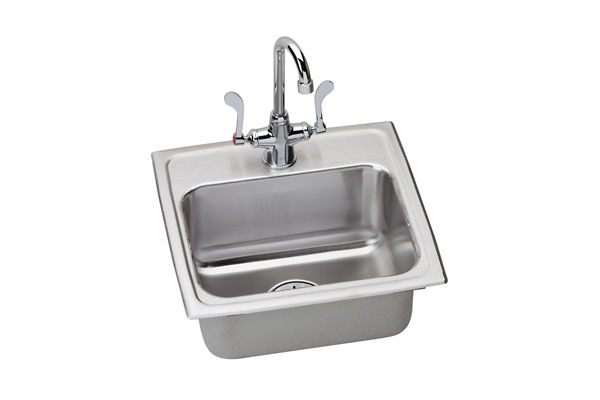 "Elkay Lustertone Stainless Steel 17"" x 16"" x 6-1/2"", Single Bowl Top Mount Sink + Faucet Kit with Perfect Drain"