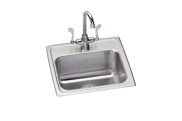 "Elkay Lustertone Stainless Steel 17"" x 16"" x 6-1/2"", Single Bowl Top Mount ADA Sink + Faucet Kit with Perfect Drain"