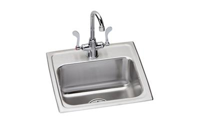 "Image for Elkay Lustertone Stainless Steel 17"" x 16"" x 6"", Single Bowl Top Mount ADA Sink + Faucet Kit from ELKAY"