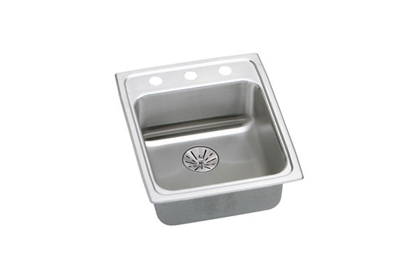 "Elkay Lustertone Stainless Steel 17"" x 20"" x 6-1/2"", Single Bowl Top Mount Sink with Perfect Drain"