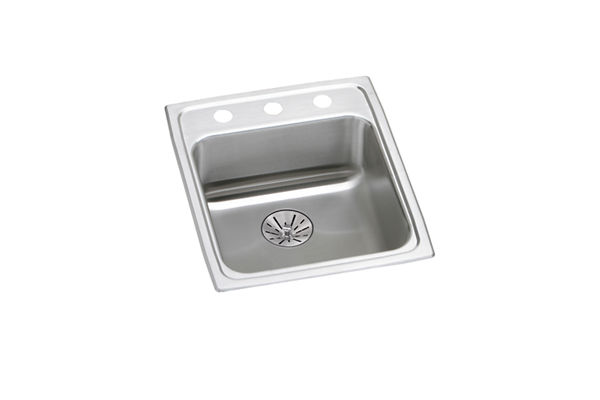 "Elkay Lustertone Classic Stainless Steel 17"" x 20"" x 6-1/2"", Single Bowl Top Mount ADA Sink with Perfect Drain"