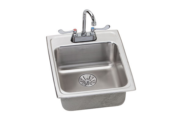 "Elkay Lustertone Stainless Steel 17"" x 20"" x 6-1/2"", Single Bowl Top Mount Sink + Faucet Kit with Perfect Drain"