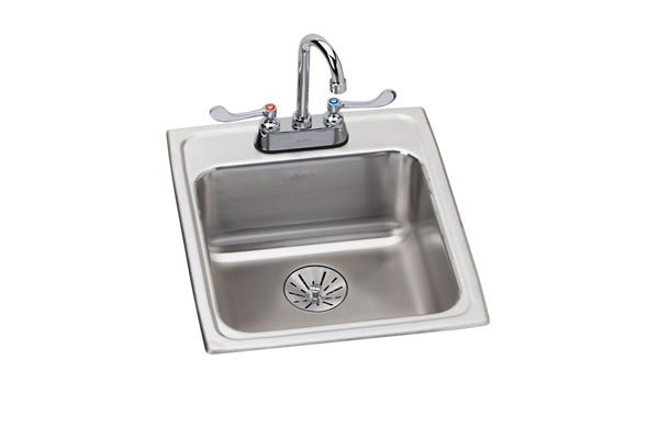 "Elkay Lustertone Stainless Steel 17"" x 20"" x 6-1/2"", Single Bowl Top Mount ADA Sink + Faucet Kit with Perfect Drain"