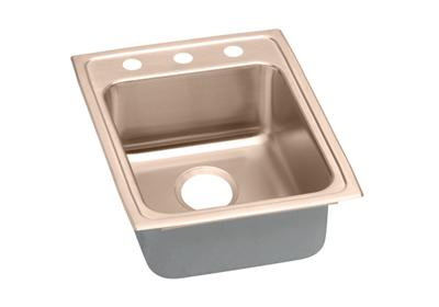 "Image for Elkay CuVerro Antimicrobial Copper 17"" x 22"" x 6"", Single Bowl Top Mount ADA Sink from ELKAY"