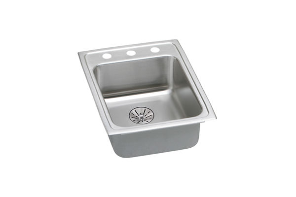 "Elkay Lustertone Classic Stainless Steel 17"" x 22"" x 6-1/2"", Single Bowl Top Mount ADA Sink with Perfect Drain"