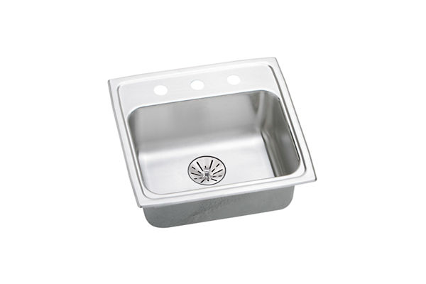 "Elkay Lustertone Classic Stainless Steel 19"" x 18"" x 6-1/2"", Single Bowl Top Mount ADA Sink with Perfect Drain"
