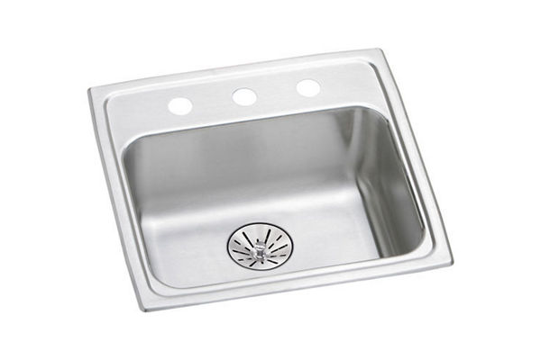 "Elkay Lustertone Classic Stainless Steel 19"" x 18"" x 6-1/2"", Single Bowl Drop-in ADA Sink with Perfect Drain"