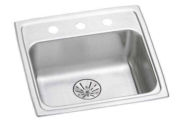 Elkay Lustertone Classic Stainless Steel 19u0026#34; X 18u0026#34; X 6 1/2u0026#34;,  Single Bowl Top Mount ADA Sink With Perfect Drain   ELKAY