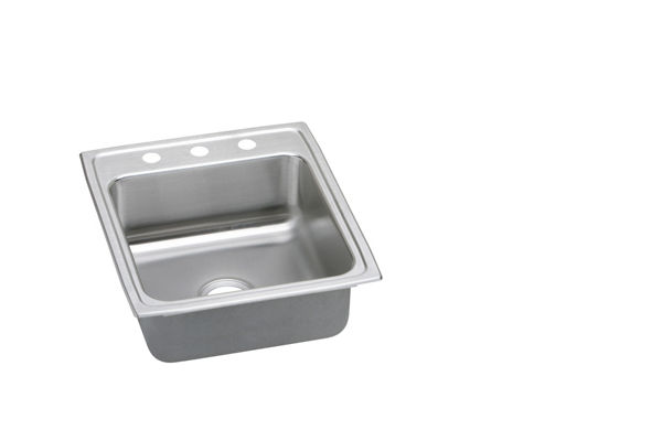 "Elkay Lustertone Stainless Steel 19-1/2"" x 22"" x 5-1/2"", Single Bowl Top Mount ADA Sink"