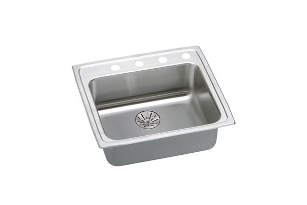 "Elkay Lustertone Classic Stainless Steel 22"" x 19-1/2"" x 6-1/2"", Single Bowl Top Mount ADA Sink with Perfect Drain"