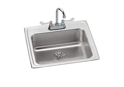 "Image for Elkay Lustertone Stainless Steel 22"" x 19-1/2"" x 6-1/2"", Single Bowl Top Mount ADA Sink+Faucet Kit w/ Perfect Drain from ELKAY"