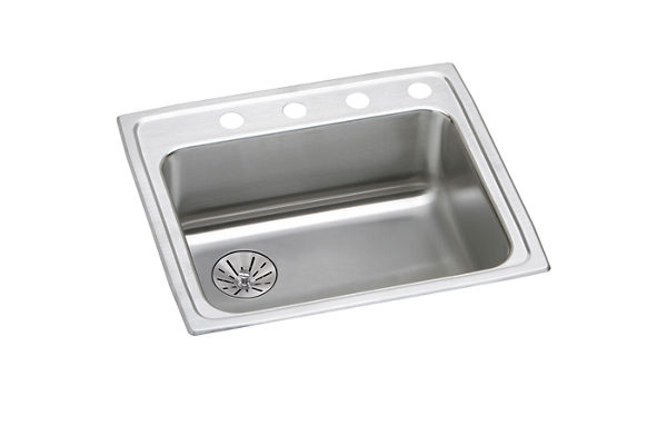 "Elkay Lustertone Stainless Steel 22"" x 19-1/2"" x 6-1/2"", Single Bowl Top Mount ADA Sink with Perfect Drain"