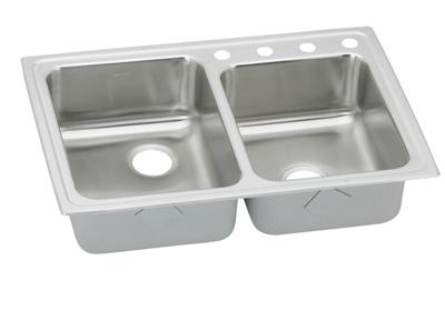 "Image for Elkay Lustertone Stainless Steel 33"" x 22"" x 4-1/2"", Offset Double Bowl Top Mount Sink from ELKAY"