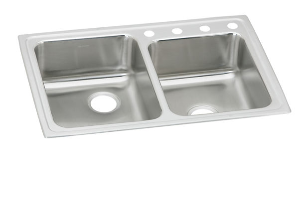 "Elkay Lustertone Stainless Steel 33"" x 22"" x 5-1/2"", Offset Double Bowl Top Mount ADA Sink"