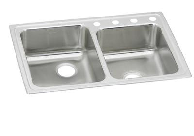 "Image for Elkay Lustertone Stainless Steel 33"" x 22"" x 4"", Offset Double Bowl Top Mount ADA Sink from ELKAY"