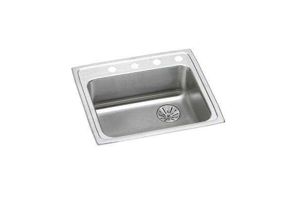"Elkay Lustertone Classic Stainless Steel 25"" x 21-1/4"" x 6-1/2"", Single Bowl Top Mount ADA Sink with Perfect Drain"