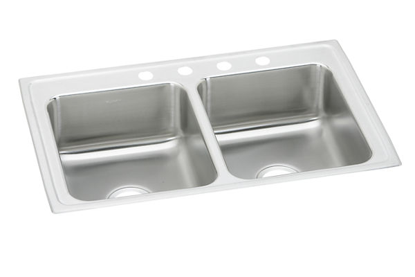 "Elkay Lustertone Stainless Steel 29"" x 18"" x 5-1/2"", Equal Double Bowl Top Mount ADA Sink"