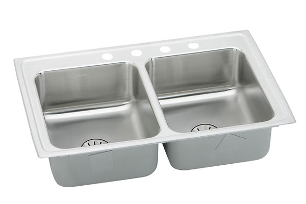 "Elkay Lustertone Stainless Steel 29"" x 18"" x 6-1/2"", Equal Double Bowl Top Mount ADA Sink with Perfect Drain"