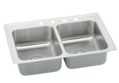 "Image for Elkay Lustertone Stainless Steel 29"" x 18"" x 6-1/2"", Equal Double Bowl Top Mount ADA Sink with Perfect Drain from ELKAY"