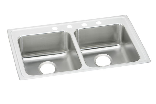 "Elkay Lustertone Stainless Steel 29"" x 22"" x 5-1/2"", Equal Double Bowl Top Mount ADA Sink"