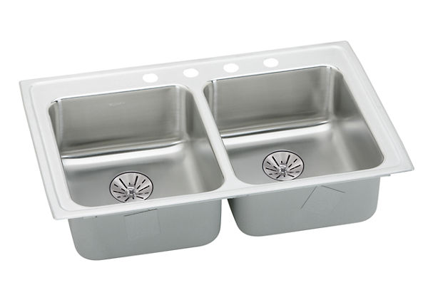 "Elkay Lustertone Classic Stainless Steel 29"" x 22"" x 6-1/2"", Equal Double Bowl Top Mount ADA Sink with Perfect Drain"