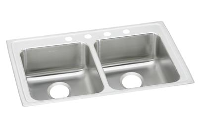 "Image for Elkay Lustertone Stainless Steel 33"" x 19-1/2"" x 4"", Equal Double Bowl Top Mount ADA Sink from ELKAY"