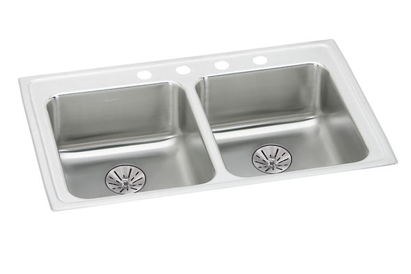 "Elkay Lustertone Classic Stainless Steel 33"" x 19-1/2"" x 6-1/2"", Double Bowl Drop-in ADA Sink w/Perfect Drain"