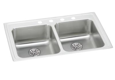"Image for Elkay Lustertone Stainless Steel 33"" x 19-1/2"" x 6-1/2"", Equal Double Bowl Top Mount ADA Sink with Perfect Drain from ELKAY"