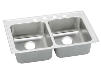 "Image for Elkay Lustertone Stainless Steel 33"" x 21-1/4"" x 4"", Equal Double Bowl Top Mount Sink from ELKAY"