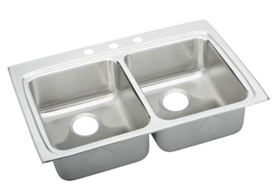 "Image for Elkay Lustertone Stainless Steel 33"" x 22"" x 5-1/2"", Equal Double Bowl Top Mount Sink from ELKAY"