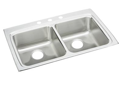 "Image for Elkay Lustertone Stainless Steel 33"" x 22"" x 6-1/2"", Equal Double Bowl Top Mount ADA Sink from ELKAY"