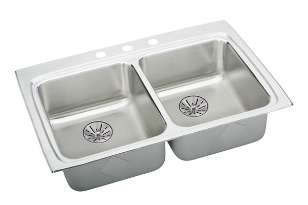 "Elkay Lustertone Classic Stainless Steel 33"" x 22"" x 6-1/2"", Equal Double Bowl Drop-in ADA Sink with Perfect Drain"