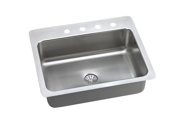 "Elkay Lustertone Stainless Steel 27"" x 22"" x 8"", Single Bowl Dual Mount Sink with Perfect Drain"