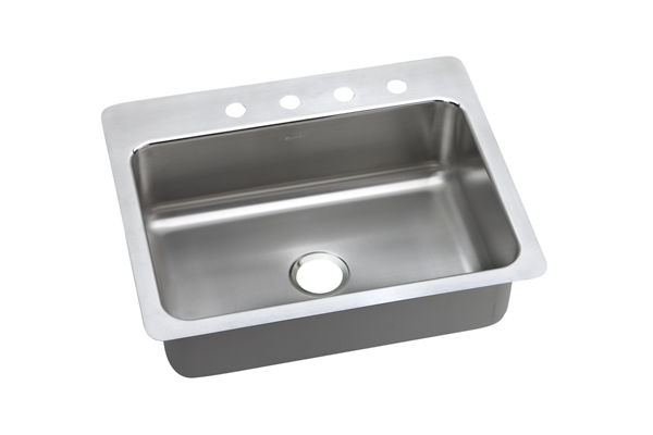 "Elkay Lustertone Stainless Steel 27"" x 22"" x 8"", Single Bowl Dual Mount Sink"