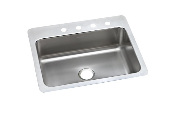 "Elkay Lustertone Classic Stainless Steel 27"" x 22"" x 8"", Single Bowl Dual Mount Sink"