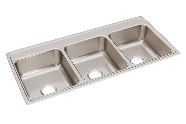 "Elkay Lustertone Classic Stainless Steel 46"" x 22"" x 7-5/8"", Triple Bowl Drop-in Sink"