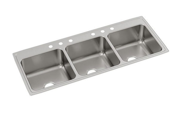 "Elkay Lustertone Classic Stainless Steel 54"" x 22"" x 10-1/8"", Triple Bowl Drop-in Sink"