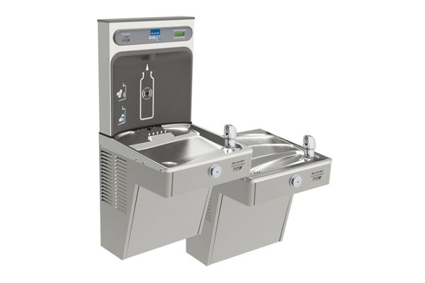 Elkay EZH2O Bottle Filling Station with Bi-Level Green Vandal-Resistant Cooler, Filtered, 8 GPH, Stainless