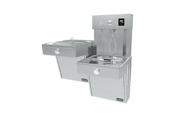 Elkay EZH2O Vandal-Resistant Bottle Filling Station &, Bi-Level Cooler Filtered 8 GPH Stainless