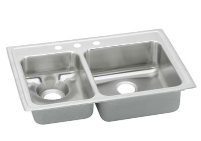 "Image for Elkay Lustertone Stainless Steel 33"" x 22"" x 7-5/8"", 40/60 Double Bowl Top Mount Sink from ELKAY"
