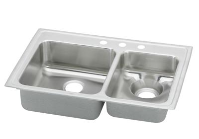 "Image for Elkay Lustertone Stainless Steel 33"" x 22"" x 7-5/8"", 60/40 Double Bowl Top Mount Sink from ELKAY"