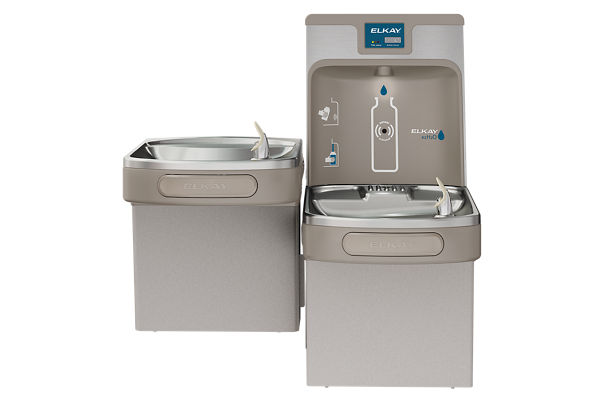 Elkay Enhanced EZH2O Bottle Filling Station, & Versatile Bi-Level ADA Cooler, Filtered 8 GPH Light Gray